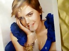 Emma Watson Gets Cum-Blue Dress with Cleavage