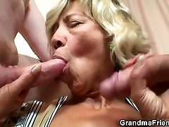Old mature takes two cocks from both sides