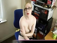 Blonde hot cute sexy strips and masturbates in her office on cam