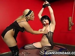 Bound bitch is spanked, clamped and first cock gay treated
