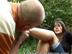Old man lick dirty feet