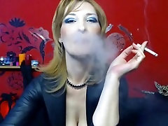 MILF Nose exhales, smokes two at once. Recorded by me