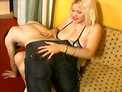 young boy spanked and pegged by smoking hot blonde