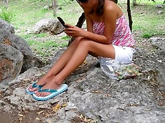 My girl walking in rubber flip flops, soft feet