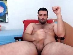Sexy Romanian Hairy Cub Jerks Off Big Dick