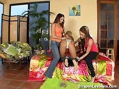 blonde in lesbian anal threesome