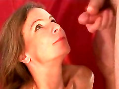 Milf sucks cock and gets cum on her face. Raeann from DATES25.COM