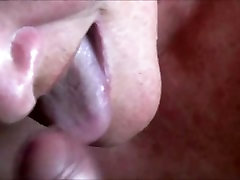 Mature lady swallows