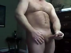 Beefy Muscle Dad Cam Show Jerk Off & Cum