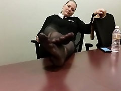 Jenns Feet Playing In Black Nylons