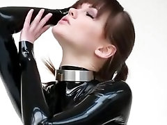 Lucy Latex in latex catsuit mask boots