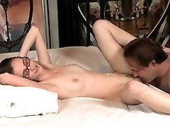 Slender girl with glasses gets her pussy licked by older stud