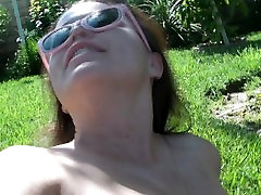 Bathing in the sun, pool glistening, wet pussy..want in?