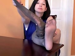 Mature feet soles & woman takes off her Nylons