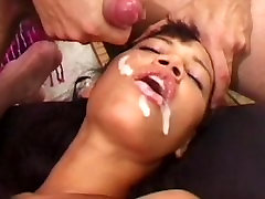 Girl gets thick hindi deved load while her head pinned down
