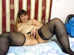 fatty Russian girl masturbates