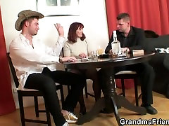 Poker leads to 3some with old drunk wife dildo and cock in stockings