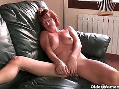Mature redheaded mom masturbates o. Un from 1fuckdate.com