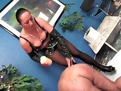 Sexy MILF spanked her man
