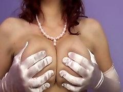 Sarah Blake Femdom Topless Satin Glove Tease
