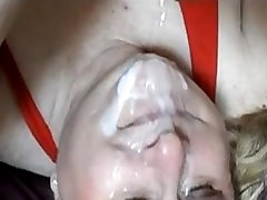 Mature bbw gets big load on her fa. Belle from 1fuckdate.com