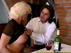 German mom fucks anally in restaurant