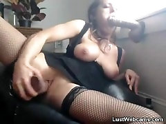 Blonde babe masturbates with sex toys till she squirts in orgasm on webcam