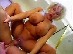 Big titted mother work kitchen takes cum on boobs
