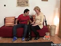 Cute stepmom open breasts lady and boy