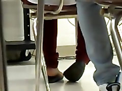 Candid Teen Ebony Shoeplay in Class