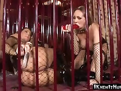 Blond SnM Babe Takes Two Dildos In Sex Dungeon