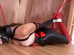 Tape Gagged Latex Bondage