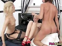 Hot lesbian threesome in high heels