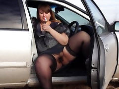 smokes. plump by a pussy hairy smoke in the car