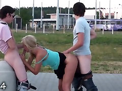 PUBLIC gangbang with a pretty teen girl in broad daylight