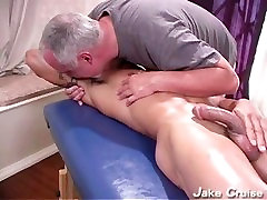 Male muscle massage, shooting load, cum licking
