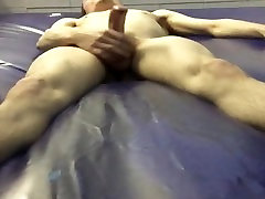 jerk-off & cum on a water bed