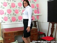 British mature mastifilm productions desi Leia masturbates in fishnets