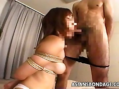 Asian slut is tied up and enjoys the saori hara all porn session
