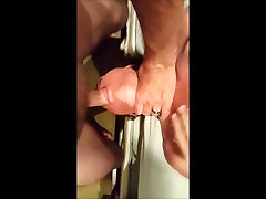 Amateur open crotch pvc pants gets fucked in the face