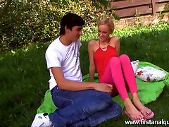 YOUNG ANAL desk doggystyle OUTDOORS WITH A GORGEOUS SKINNY TEEN
