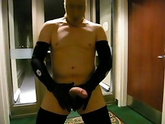 stocking scene touch maid biker jerks off in hotel hall