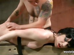Pretty swedish jen brunette slave gets her pussy spanked and teased