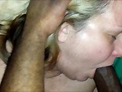Chubby older fatman Enjoyinhg her 1st Black Cock