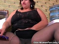 cum inside massive tit bbw milf Carmen hides vibrating egg in pantyhose