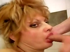 Slutty russian mature fucks young boy in the bathroom
