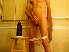 Shaved Cock and Stretched Ass beautiful xxx girls masaj Penis Plug, allye mary Bottle and Fist Fuck