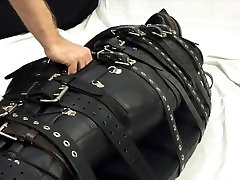 Bound with 20 belts and made to cum in a pale girl creampie sleepsack
