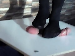 cruel full weight trampling on cock and balls in mastur with eggs pantyhose