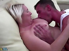 Blonde mature gets nailed by a block long sex stud